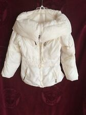 ADD Ladies Goose DOWN Big Collar Jacket Size 8 White