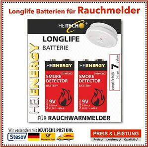2x HEITECH 9V Alkaline Longlife Rauchmelder Batterien 9Volt E-Block 2er Blister