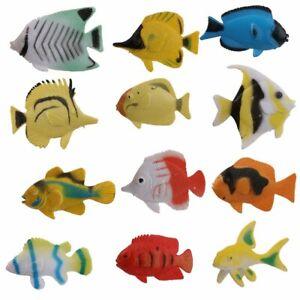 Plastic Model Fish Toy Set of 12pcs Colorful