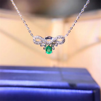 "14K White Gold Over Emerald & Diamond Pendant Necklace With 18""Chain"
