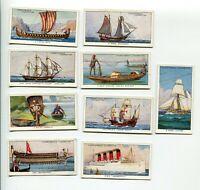 1937 W.A.& A.C. CHURCHMAN CIGARETTES THE STORY OF NAVIGATION 9 CARD LOT SHIPS