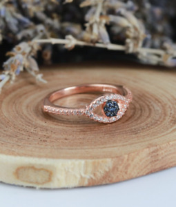 1.20Ct Round Cut Blue Sapphire Women Evil Eye Engagement Ring 14K Rose Gold Over