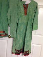 Green Cotton 3 Pc Shalwar Kameez with Choori Dar Pajama & Dupatta by GENERATION