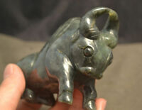 Chinese Antique Old Jade Powerful Strong Bull Ox Animal Vividly Carving LLZB LS