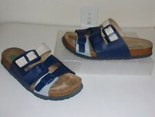 Dr. Brinkmann Light & Dark Blue & Bone / Beige Sandals Size 39 / 8 Slides Shoes