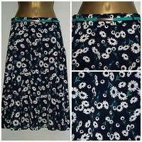 New Ladies Ex store Navy Blue Floral A-Line Midi Skirt with green belt  8 - 20