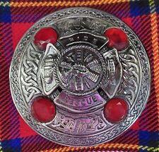 """Firefigher Fireman Scottish Brooch for Kilt Fly/Piper Plaid 3.5"""" Diameter"""