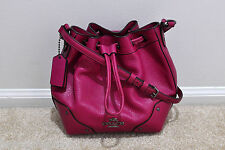 NWT COACH BABY MICKIE DRAWSTRING SHOULDER BAG IN GRAIN LEATHER F35363 MSRP $350