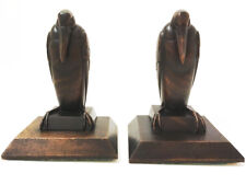 1930s Art Deco Hard Wood Hand Carved Marabou Stork Bookends Brienz Black Forest