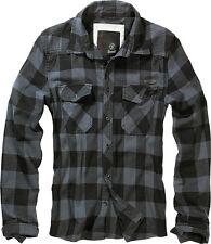Brandit Camicia Uomo Casual Quadri Militare Check Shirt S Blue