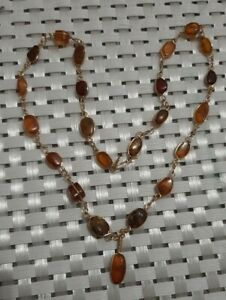 """Antique dainty amber with age patina necklace gold filled wire wrapped 17"""""""