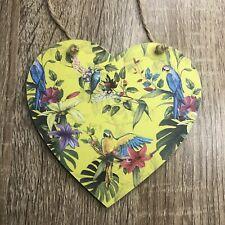 Handmade Decoupaged Parrot Wooden Hanging Heart Plaque Decoration Tropical Bird