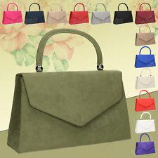Girly Handbags Velvet Handle Suede Celeb Shoulder Womens Fashion Clutch Bag