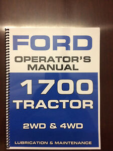 Ford 1700 Tractor Operators Manual Owners Manual Lubrication Maintenance