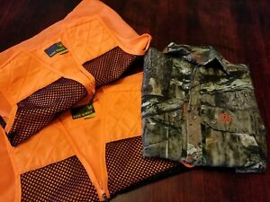 Game Winner Youth Hunting Camo Shirt Sz S & 2 Orange Blaze Vests Saftey Sz M/L