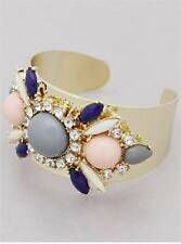 PINK GREY LUCITE STUD CLEAR CRYSTAL FLOWER GOLD TONE CUFF BANGLE BRACELET