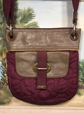 fossil key-per shoulder bag Tote Purple Quilted Flower Coated Canvas purse