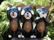 Hand Made Wooden Carving See Hear Speak No Evil 3 Wise Cats Cat Statue Set Of 3