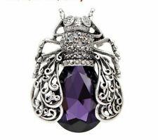 Silver Purple/Grey Rhinestone Beetle Brooch Brand New Vintage Inspired Antique