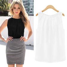 Summer Womens Vest Sleeveless Casual Tank T-Shirt Chiffon Tops Loose Blouse
