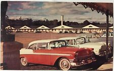 Old Cars 1950s Chevy Mercury Nash Quebec Auberge Laurier Motel Canada Postcard