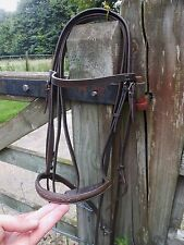 COB SIZE BRIDLE BROWN LEATHER FANCY STITCH DETAIL + REINS FAST POSTSADDLE RY
