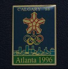 Olympic Pin ~Poster Pin Badge~Calgary, Canada 1988~1996 Atlanta~NEW on CARD