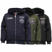 Boys Jacket Kids Padded Coat Badge Military Army Hooded Lined Casual Winter New