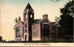 Postcard MI Osceola County Reed City High School Building 1910 M53