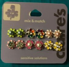 Six Pairs Claire's Mix And Match Faux Pearl Rhinestone Stud Flower Earrings New!