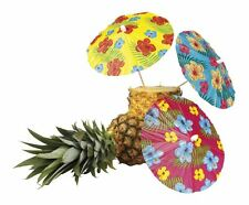 Pack of 6 Large Cocktail Parasols Hibiscus Hawaiian Umbrella Drink Garden Party