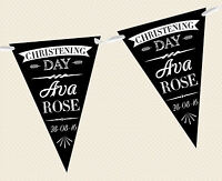 PERSONALISED CHALKBOARD BUNTING - CHRISTENING FORMAL BAPTISM BANNER DECORATION