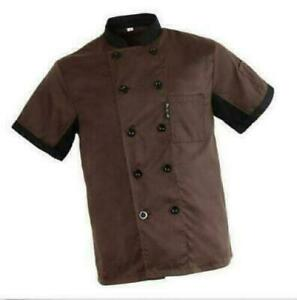 Unisex Chef Jacket Coat Restaurant Hotel Work Uniform Short Mesh Sleeves Women
