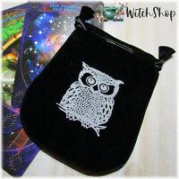 """WISE OWL Black Velvet Pouch 5""""x4"""" Drawstring Bag Wicca Witch Tarot Jewelry"""