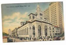 Vintage Florida Linen Postcard Miami Gesu Catholic Church and School Downtown