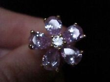 EDWARDIAN STYLE 18CT GOLD ON SILVER PAVE SET PINK SAPPHIRE CZ RING