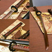 hand forged red damascus steel blade sharp Katana Japanese samurai real sword
