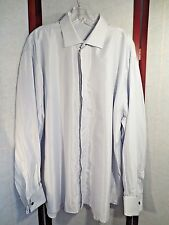 Zanella Button Front Shirt Men's Sz 44/17.5 RIBBED GRAY Dress SHIRT