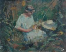 Impressionist Oil on Board Lady In Garden With Hat Listed Artist Susan Grisell