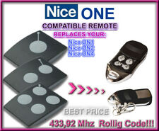 Nice ON1 / Nice ON2 / Nice ON4 compatible télécommande de remplacement 433,92Mhz