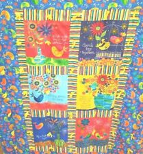 "Birds Flowers Quilt  53 x 36"" Bright Primary Colors Sayings Homemade EUC"