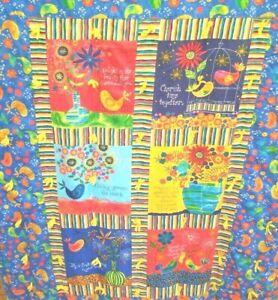 "Lap Quilt Birds Flowers Bright Primary Colors Sayings 53 x 36"" EUC"