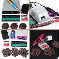Electric Nail ART Drill Pen File 36 6 Bits Sanding Bands Acrylic Manicure kit