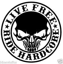 SKULL LIVE FREE RIDE HARDCORE STICKER