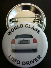"""#1 LIMO DRIVER White Lincoln 1-1/4"""" Pinback Buttons NEW"""