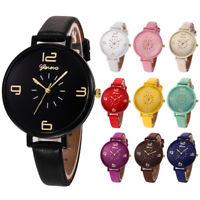 Women Watch Casual Checker Faux Leather Fashion Quartz Analog Wrist Watches Gift