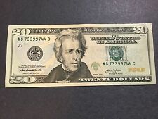 $20 Dollars Bill Series 2013 (Chicago), 3 Pairs 4 Digits Fancy Serial # 73399744