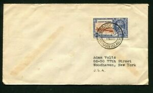 1935 Silver Jubilee Cayman Islands 2 1/2 d on a correct rate cover to the USA