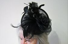 Black FASCINATOR | Looped Net Ribbon | Feather Tendrils | Wedding | Prom (4)