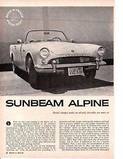 1962 SUNBEAM ALPINE 98/86 HP ~ ORIGINAL 4-PAGE ROAD TEST / ARTICLE / AD